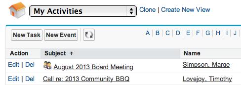 Salesforce calendar and activities screenshot