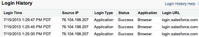 User login history screenshot