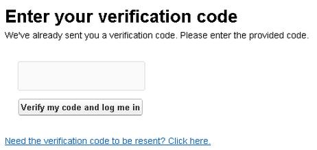 Verification code prompt