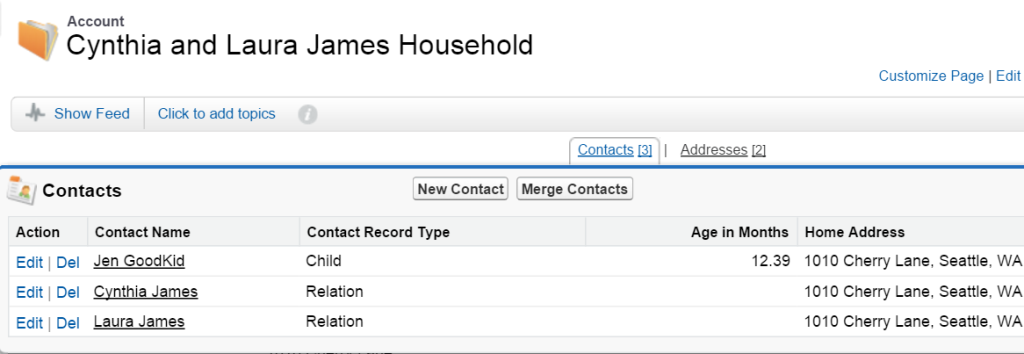 Household Account: Related list of Contacts living with child Jen Goodkid