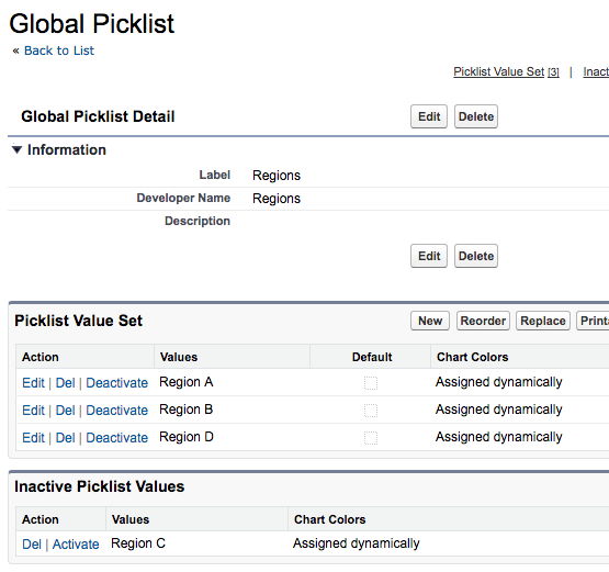 Global picklist config page showing inactive values