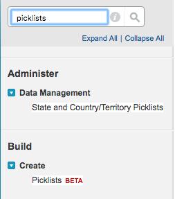 Setup tree screenshot showing global picklist configuration link