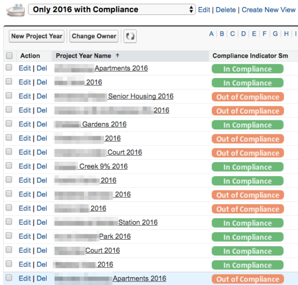 List View showing Compliance Indicator badges
