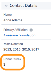Snippet of Contact Layout Screenshot showing Donor Streak field