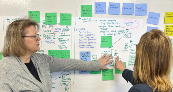 Two people standing next to a wall covered in diagrams and sticky notes both point toward a small figure in the diagram